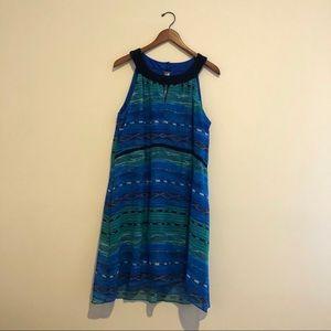 Blue RABBIT RABBIT RABBIT Print Halter Dress Sz 14